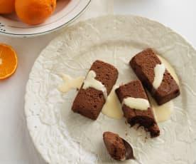 Marquise de chocolate com molho de laranja
