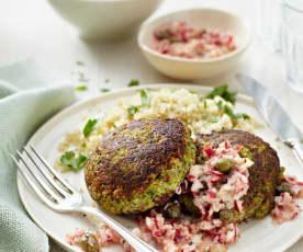 Broccoli-Burger an Radieschen-Salsa