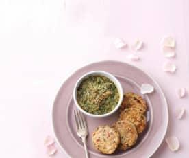 Hambúrgueres de frango com gratinado de legumes