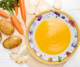 Polévka s mrkví, petrželí, celerem a bramborem