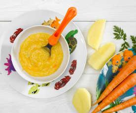 Vařený brambor s mrkví