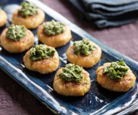 Mini Crab cakes with Cilantro Pesto
