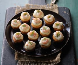 Polenta Muffins with Prawns and Mayo