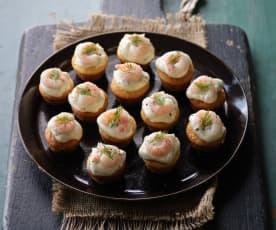 Polenta Muffins with Prawns and Mayo