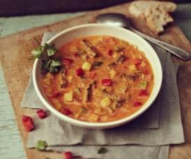 Paprika-Curry-Suppe mit Rindfleisch