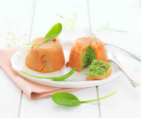 Dariole de saumon fumé aux épinards frais