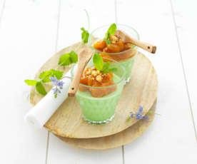 Pannacotta à la menthe compotée d'abricots