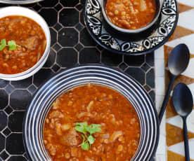Harira - Sopa de lentilhas com carne