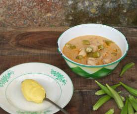Muamba de ginguba com galinha e funje de milho