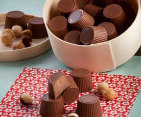 Bombons de creme de chocolate e avelã