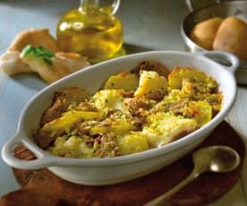 Baccalà, patate e funghi