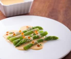 義式沙巴翁綠蘆筍佐鮭魚卵