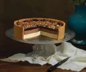 Cheesecake de chocolate e caramelo
