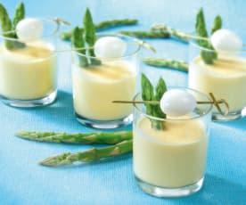 Uova di quaglia e asparagi in salsa di senape