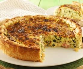 Ham and zucchini quiche