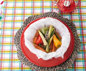 Legumes miniatura em papelote com manteiga aromatizada com tomilho