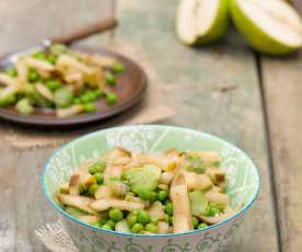 Bób z zielonym groszkiem w słodkim sosie gruszkowym