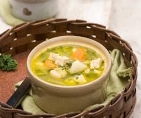 Gaskońska zupa garbure z tofu