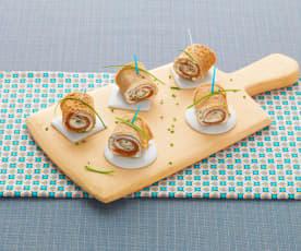 Rotolini di crêpes di grano saraceno al salmone