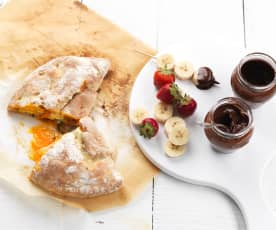 Spinach, Ricotta and Tomato Calzone, Fruit Kebabs with Chocolate Fondue