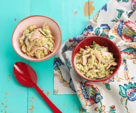 Orzo with Salmon, Green Beans and Avocado Sauce