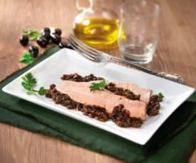 Trota salmonata al pesto di olive