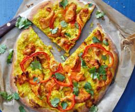 Curry-Poulet-Pizza