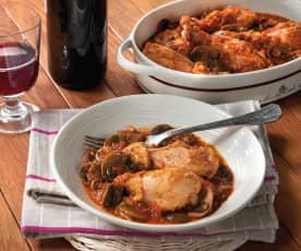 Pollo con salsa ai peperoni