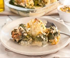 Brokuły i kalafior z owsianą kruszonką