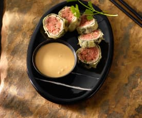 Gebackenes Thunfisch-Tatar mit Kokos-Teriyaki-Sauce