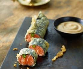 Gebackenes Lachs-Sashimi mit Spargel und Sesamcreme
