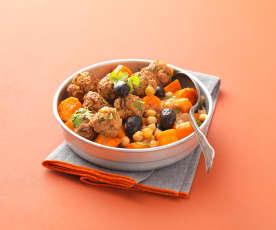Boulettes keftas aux citrons confits, tajine de légumes aux agrumes