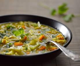 Kari polévka s červenou čočkou a batáty