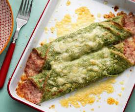 Crêpes vertes au jambon et au fromage