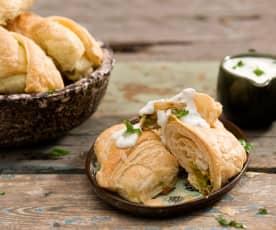 Taštičky s bramborovou-hráškovou nádivkou