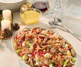 Endiviensalat mit Hähnchen und Granatapfel