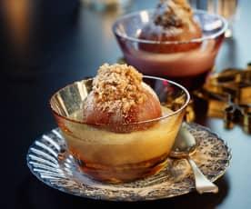 Bratäpfel mit Marzipan-Nussfülle und Vanillesauce