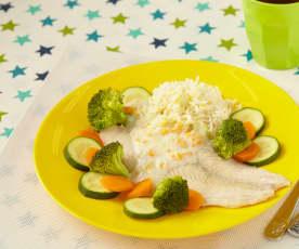 Treska se zeleninou a rýží vařená v páře
