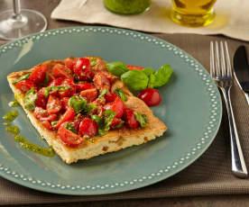 Focaccia s cherry rajčátky a pestem