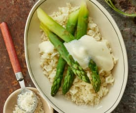 Asparagus, Parmesan Rice and Lemon Sabayon Sauce