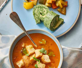Tomaten-Brot-Suppe, Spinat-Omelett-Rolle, Ratatouille
