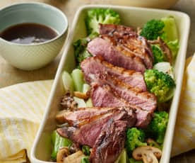 Five-spice duck with mushrooms, Asian vegetables and rice