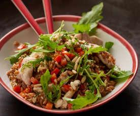 Spelt and chicken salad