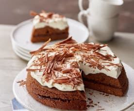 Steamed Chocolate Cake with Whipped Cream