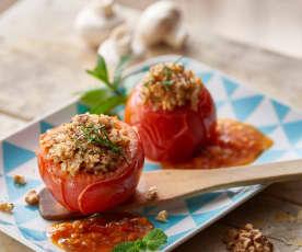 Tomaten opgevuld met champignons en noten