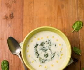 Sopa de nabo e espinafres