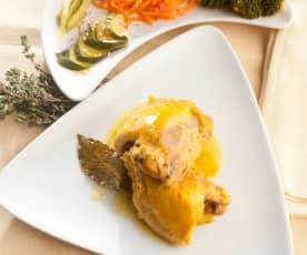Kuře na bylinkách se zeleninou v páře