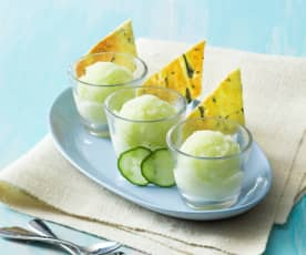 Gin and tonic sorbet with cucumber