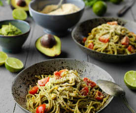 Wholewheat Spaghetti with Avocado Sauce and Vegan 'Parmesan'