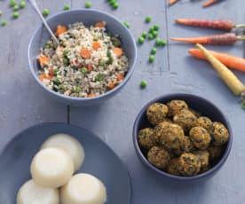 Almôndegas de tofu com arroz integral & quindim vegan